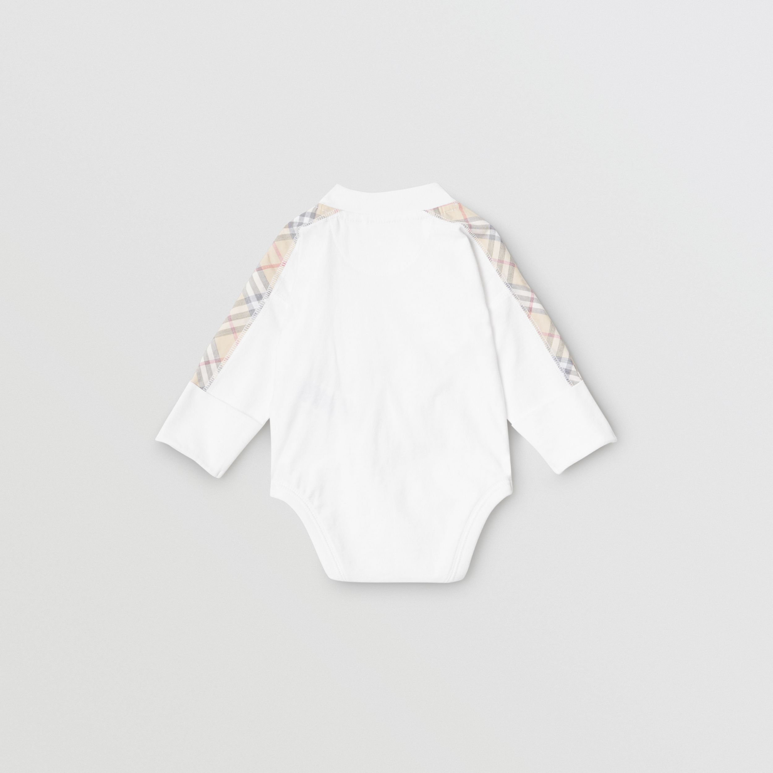 Check Detail Cotton Three-piece Baby Gift Set in White - Children | Burberry - 4