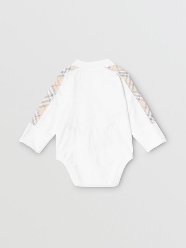 Check Detail Cotton Three-piece Baby Gift Set in White - Children | Burberry - cell image 3