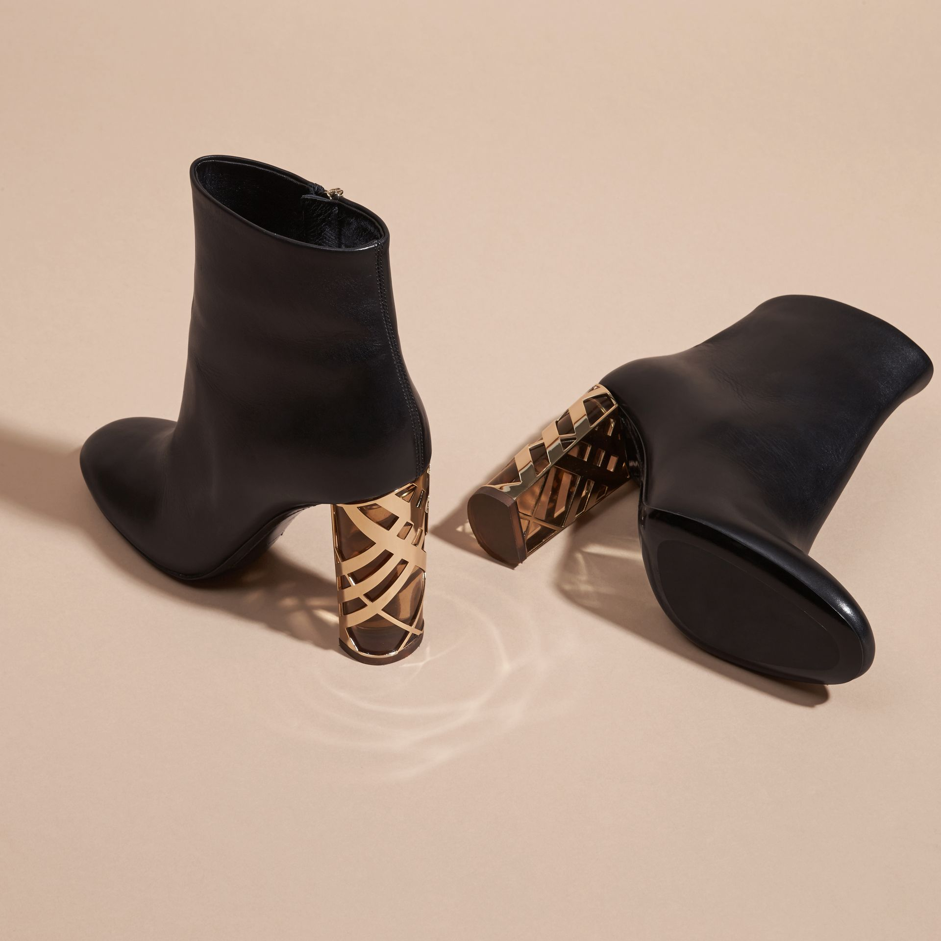 Black Check Heel Leather Ankle Boots - gallery image 5