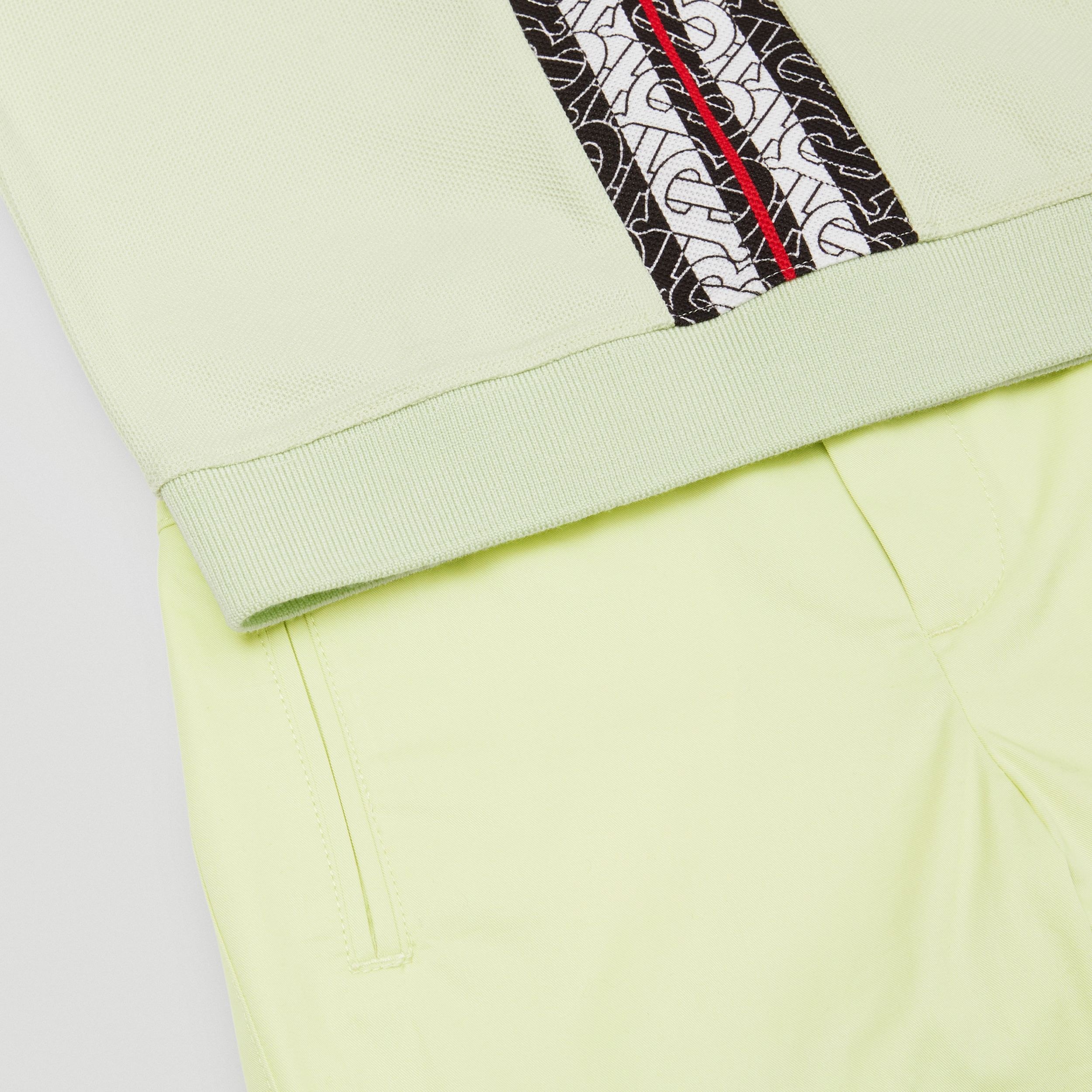 Embroidered Logo Cotton Shorts in Pistachio | Burberry - 2