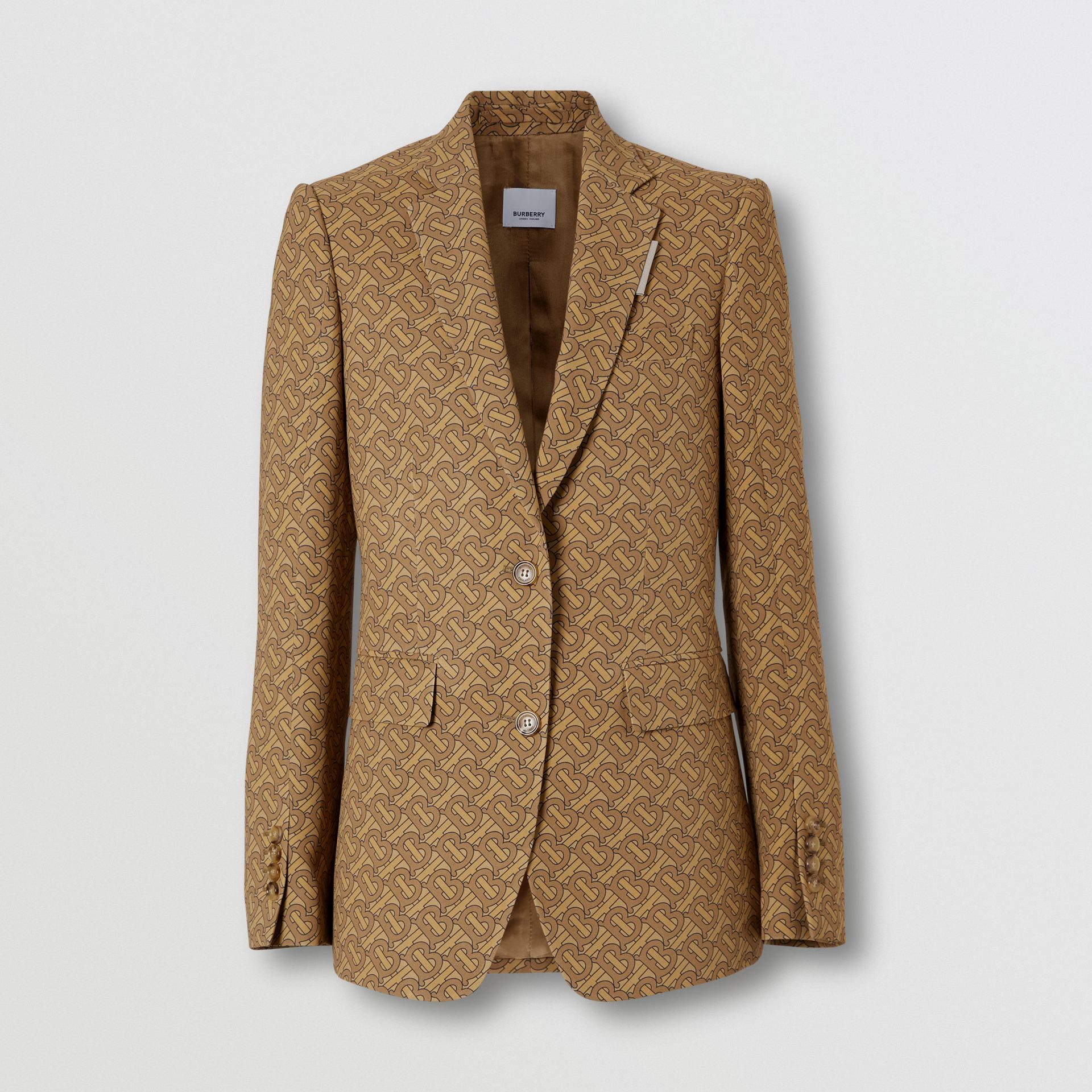 Monogram Print Silk Tailored Jacket in Tawny - Women | Burberry - gallery image 3