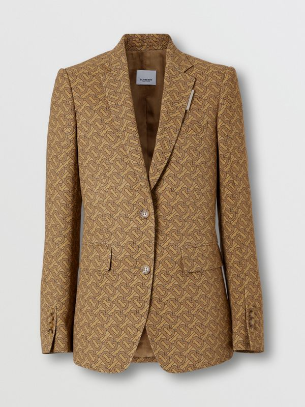 Monogram Print Silk Tailored Jacket in Tawny - Women | Burberry - cell image 3