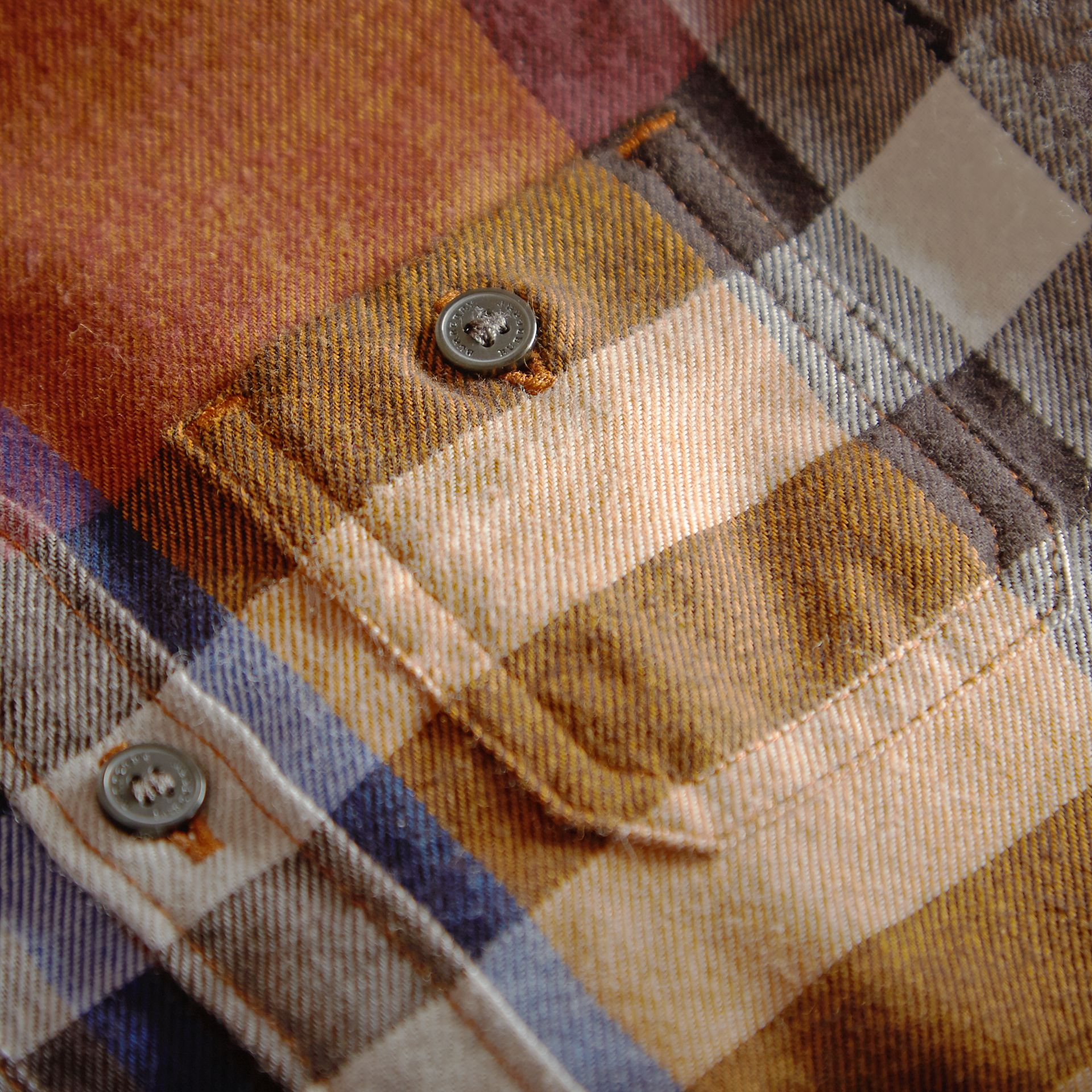 Pocket Detail Check Cotton Shirt in Ochre Yellow | Burberry - gallery image 2