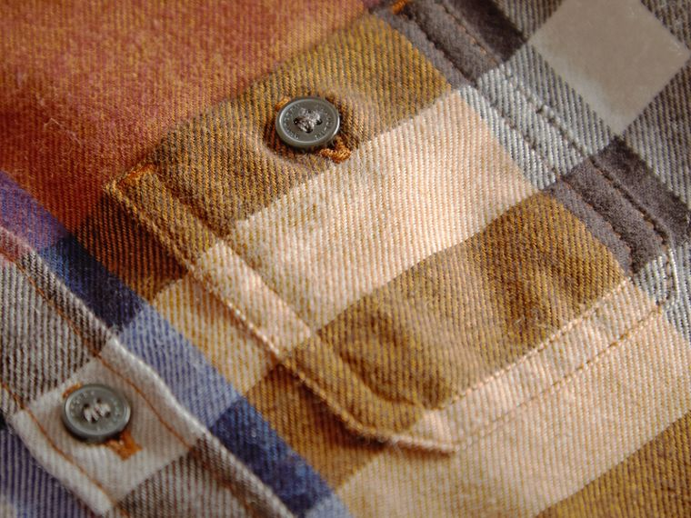 Pocket Detail Check Cotton Shirt in Ochre Yellow | Burberry - cell image 1