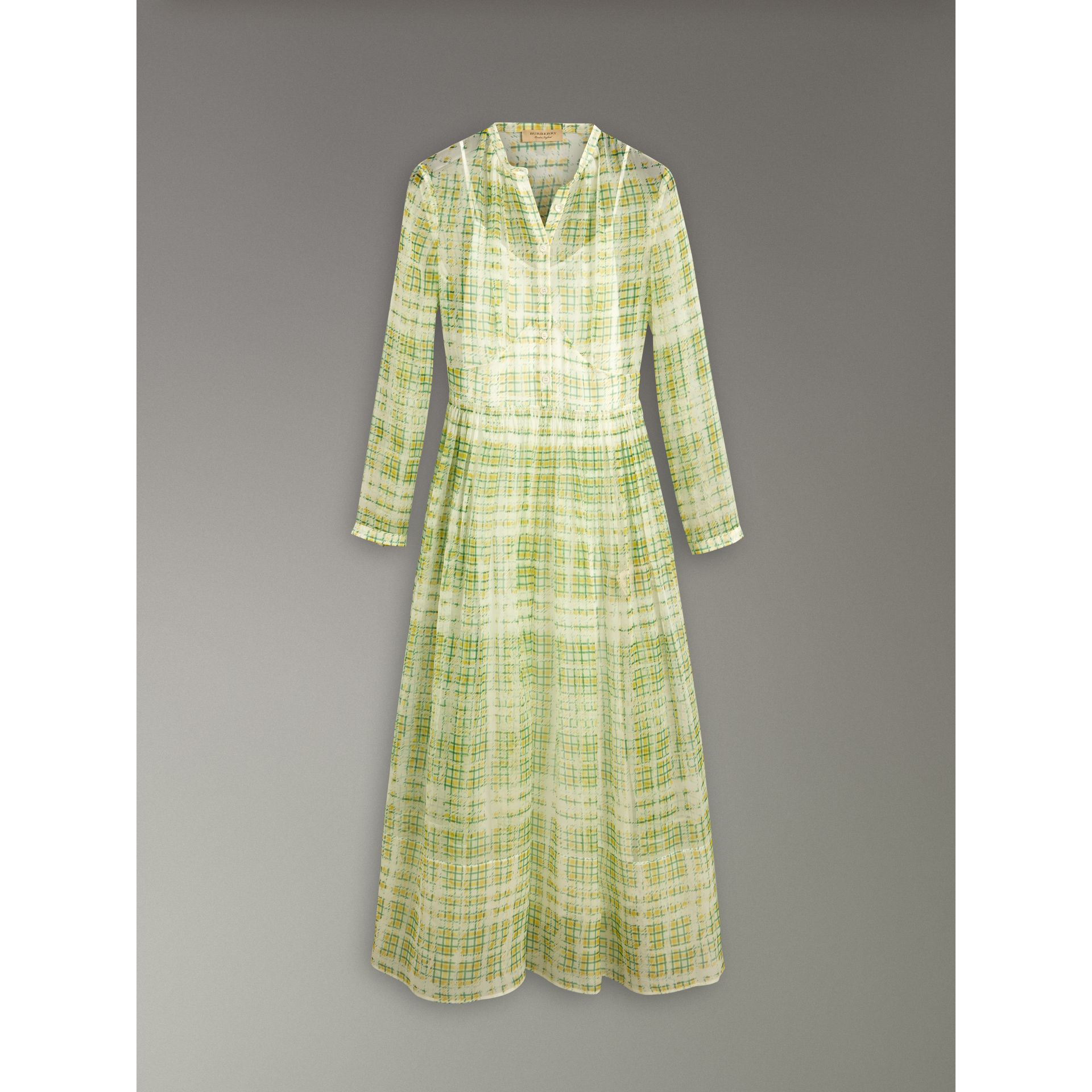 Scribble Check Print Silk Dress in Yellow - Women | Burberry - gallery image 3