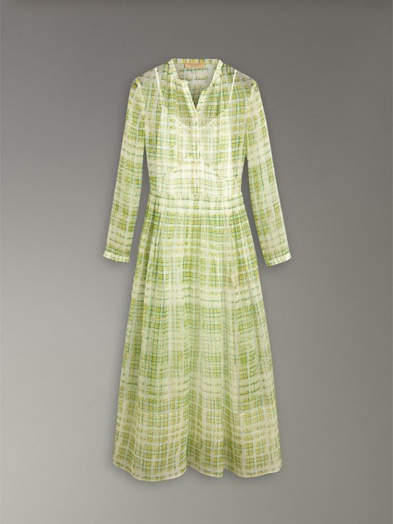 Scribble Check Print Silk Dress in Yellow - Women | Burberry - cell image 3