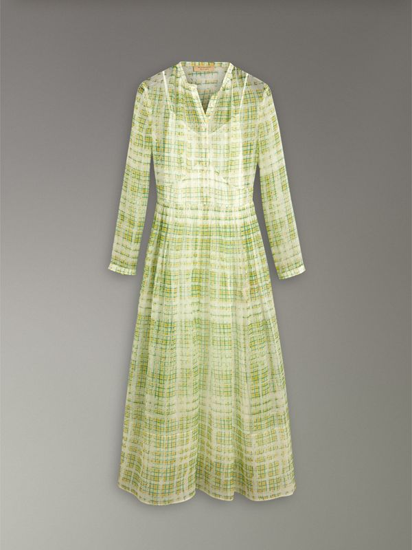 Scribble Check Print Silk Dress in Yellow - Women | Burberry United Kingdom - cell image 3