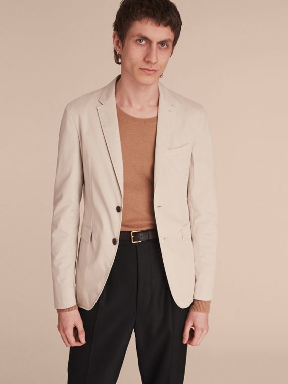 Slim Fit Stretch-cotton Blazer Sand