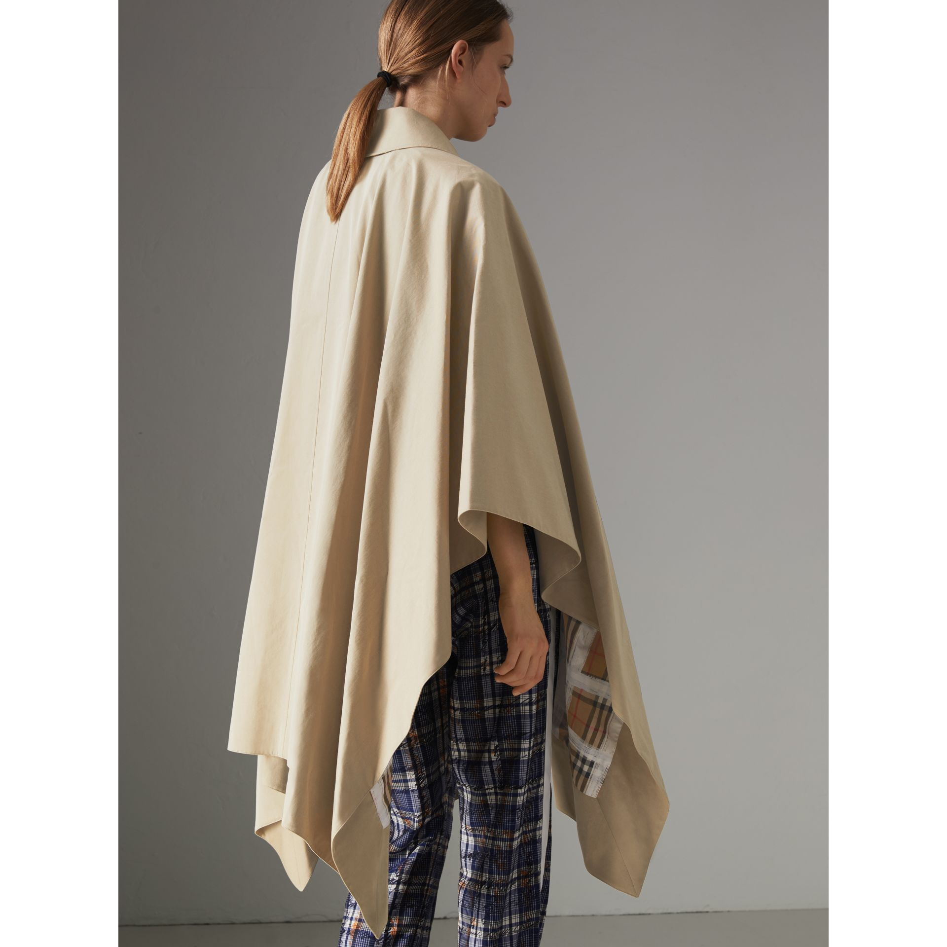 Tropical Gabardine Asymmetric Cape in Oatmeal - Women | Burberry United States - gallery image 2