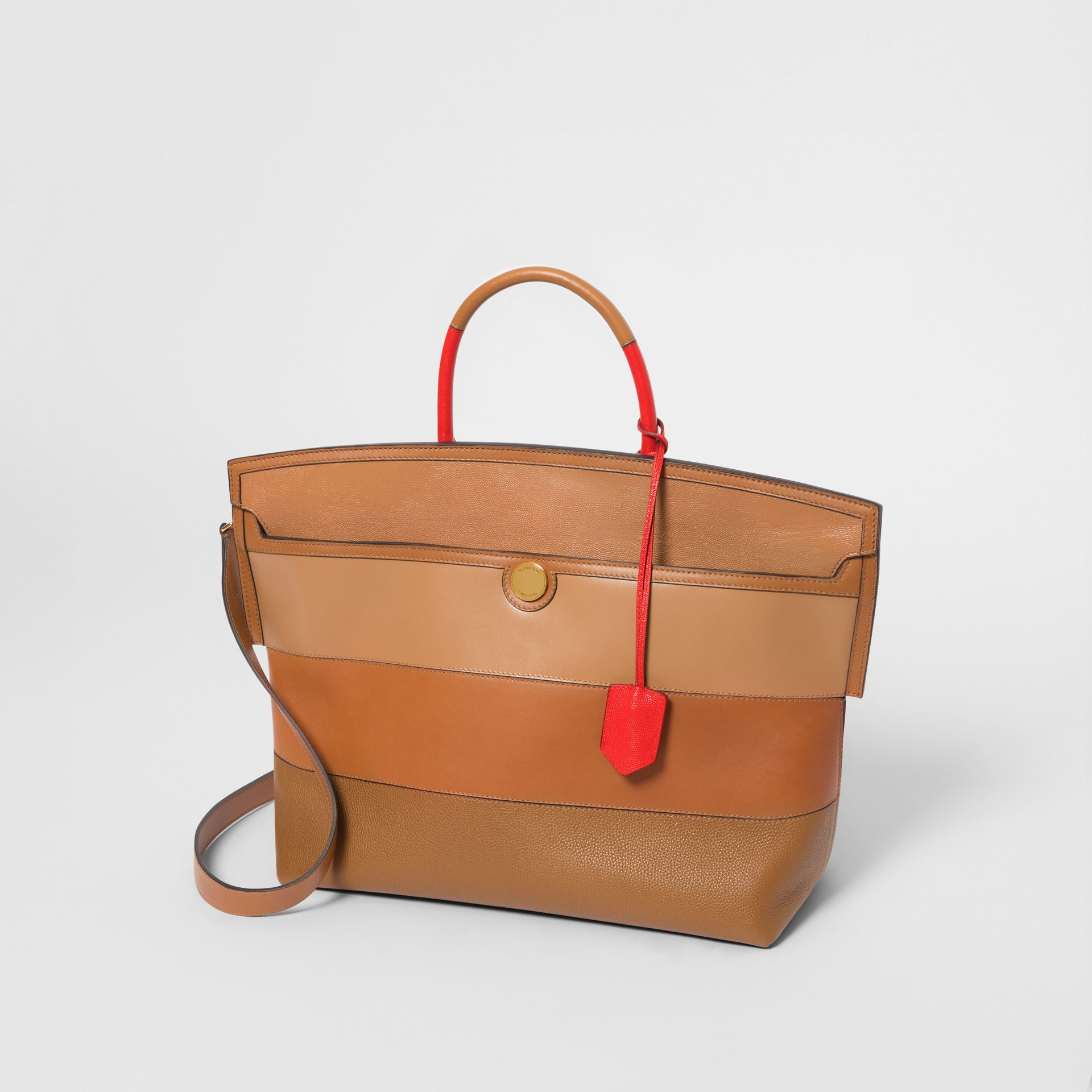 Panelled Leather Society Top Handle Bag in Warm Camel - Women | Burberry - gallery image 3