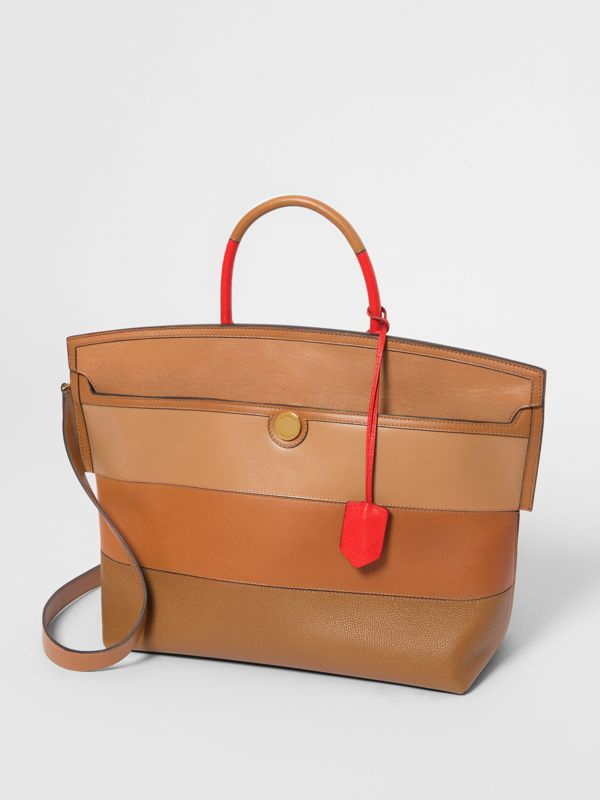 Panelled Leather Society Top Handle Bag in Warm Camel - Women | Burberry United Kingdom - cell image 3