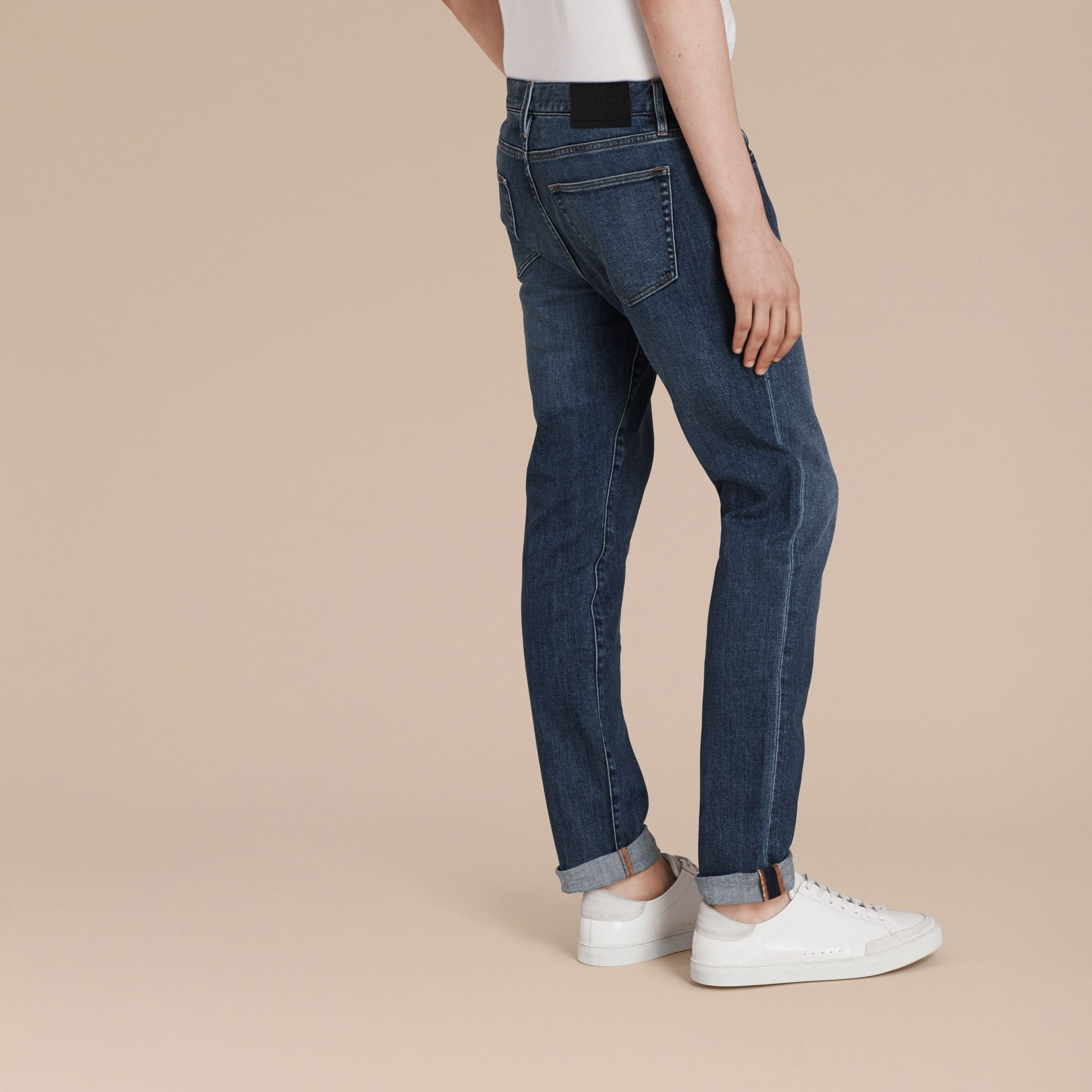 Mid indigo Slim Fit Japanese Denim Jeans - gallery image 3