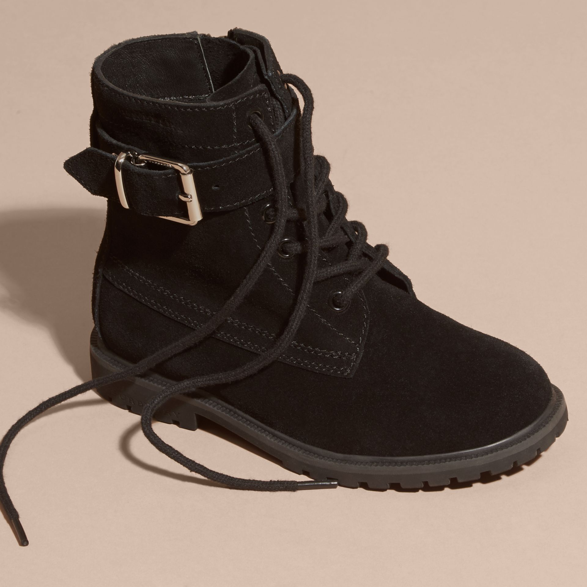Black Suede Lace-up Boots - gallery image 3