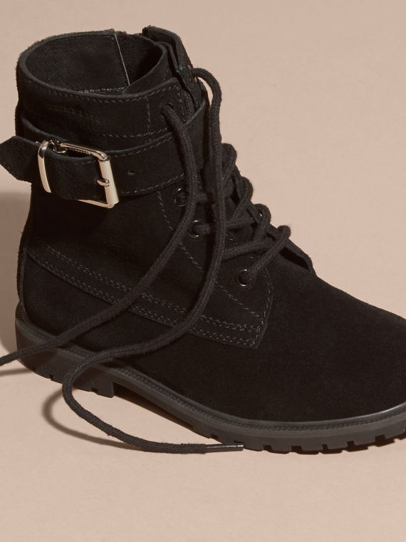 Black Suede Lace-up Boots - cell image 2