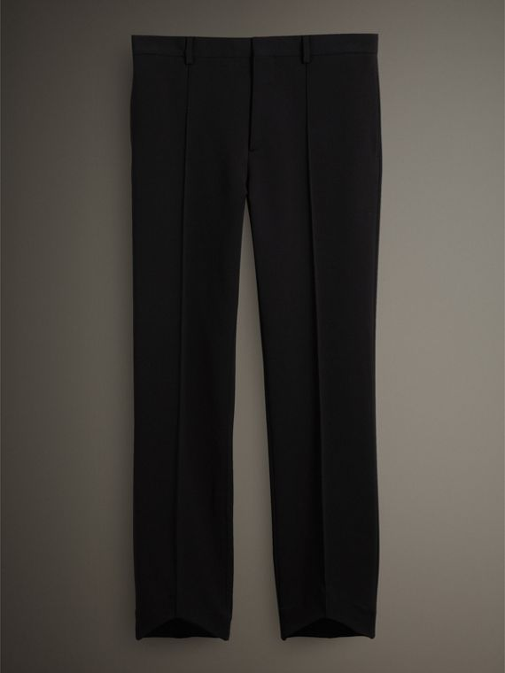 Jersey Cropped Tailored Riding Trousers in Black - Men | Burberry Australia - cell image 3