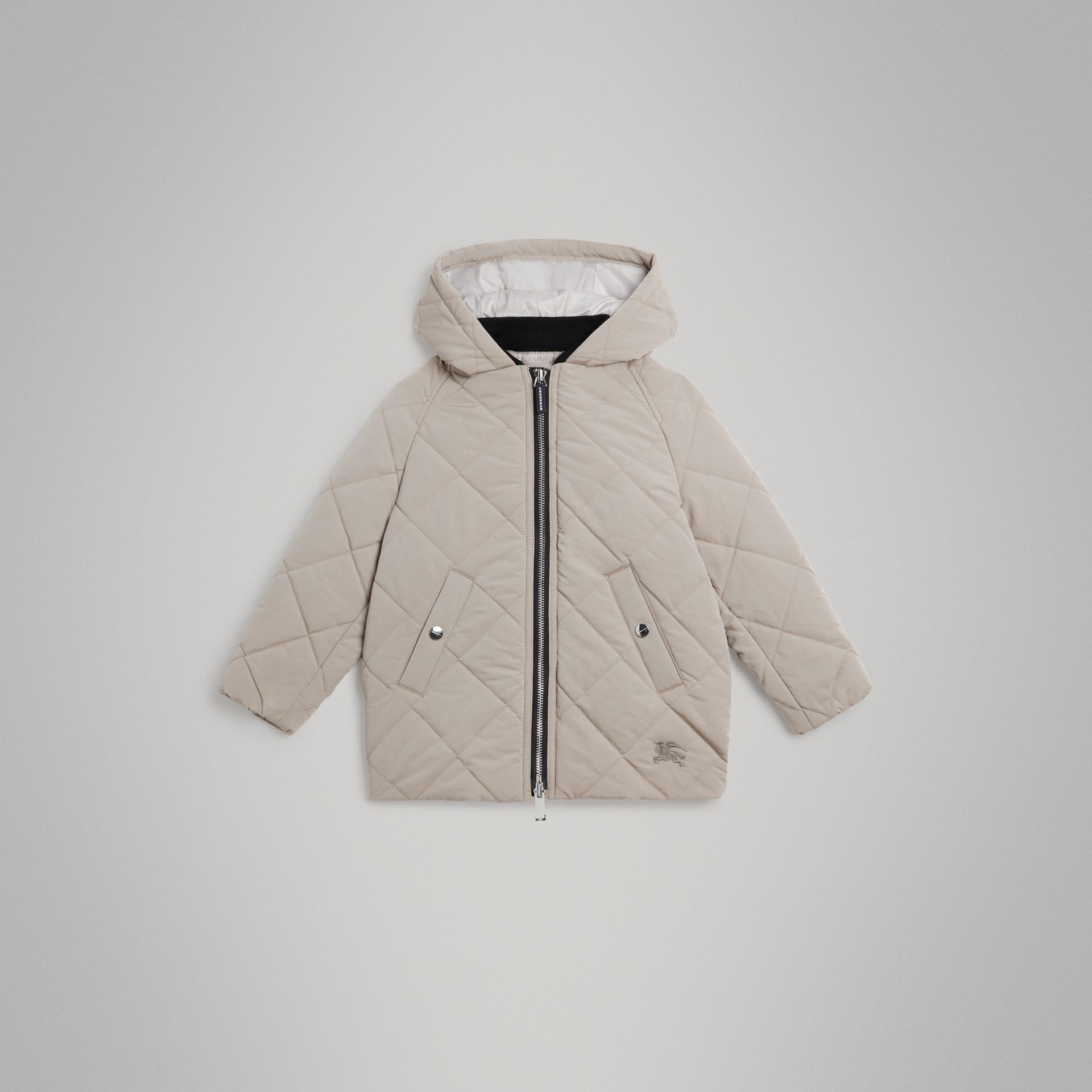 Diamond Quilted Hooded Jacket in Taupe | Burberry - gallery image 0