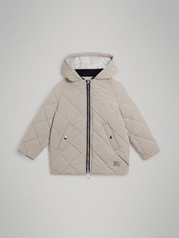 Diamond Quilted Hooded Jacket in Taupe