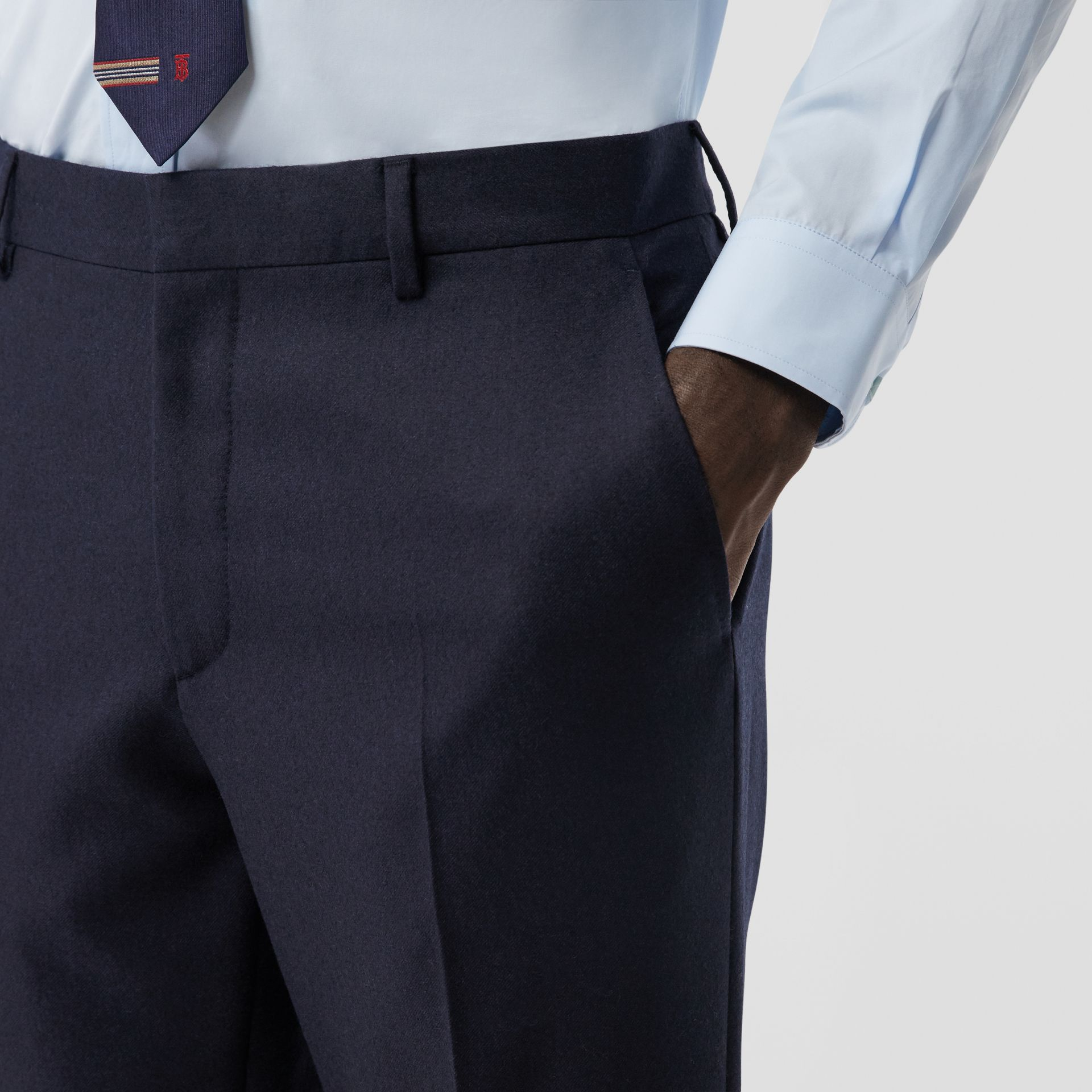 Classic Fit Wool Flannel Tailored Trousers in Navy - Men | Burberry Hong Kong S.A.R - gallery image 1