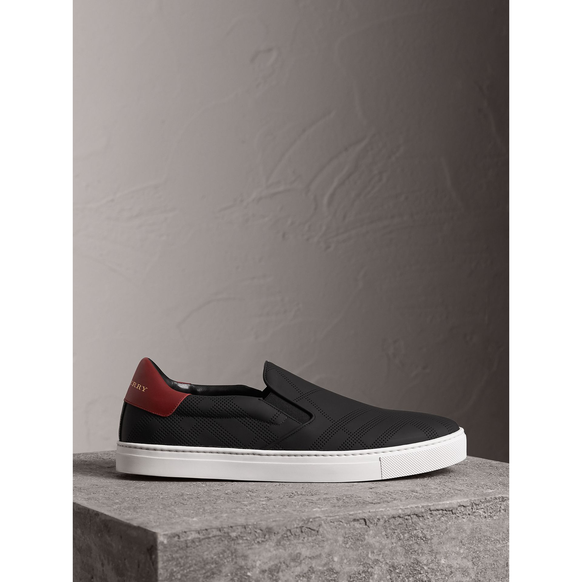 Perforated Check Leather Slip-on Trainers in Black/deep Claret Melange - Men | Burberry - gallery image 5