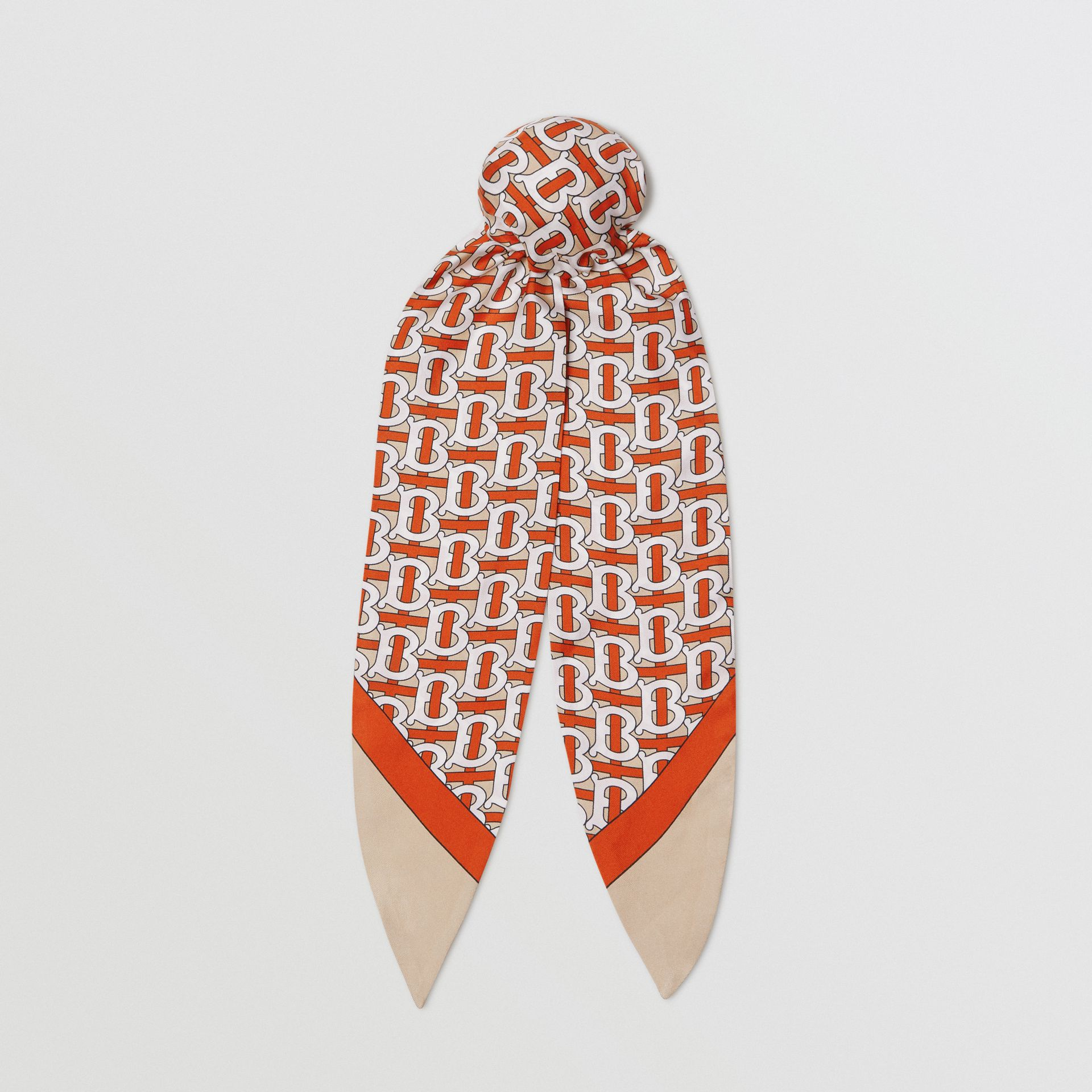 Monogram Print Silk Hair Scarf in Vermilion - Women | Burberry Australia - gallery image 0