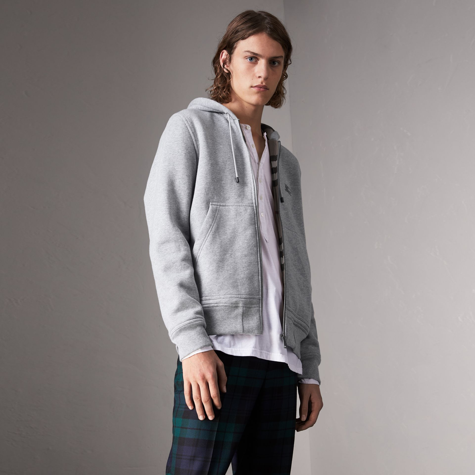 Check Detail Jersey Hooded Top in Pale Grey Melange - Men | Burberry - gallery image 1