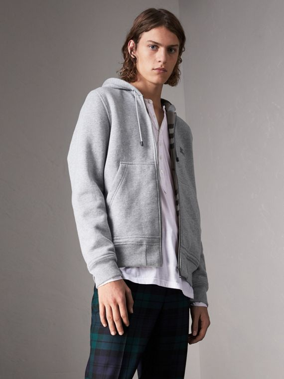 Check Detail Jersey Hooded Top in Pale Grey Melange