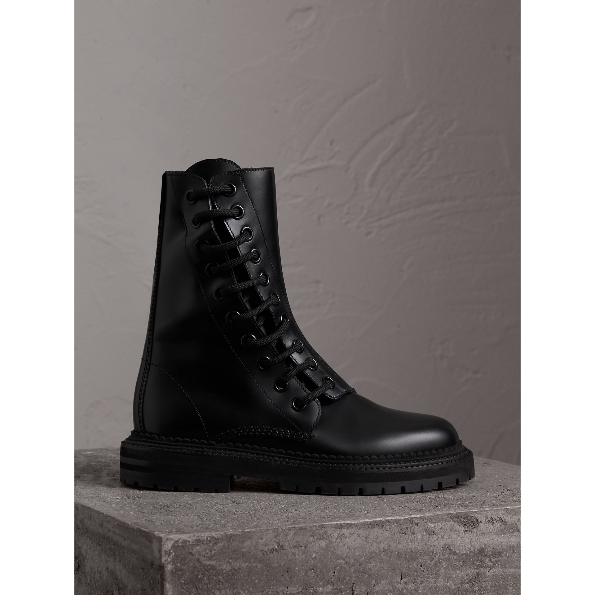 Leather Asymmetric Lace-up Boots in Black - Women | Burberry - gallery image 1