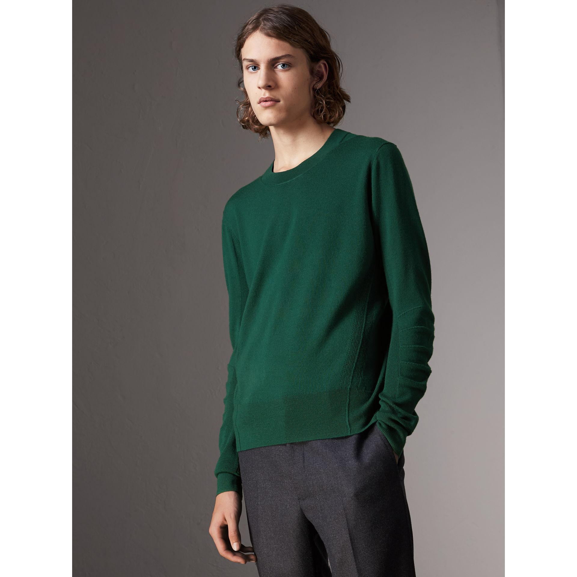 Check Detail Merino Wool Sweater in Dark Teal - Men | Burberry - gallery image 1