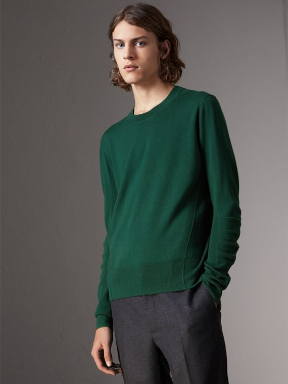 Check Detail Merino Wool Sweater in Dark Teal