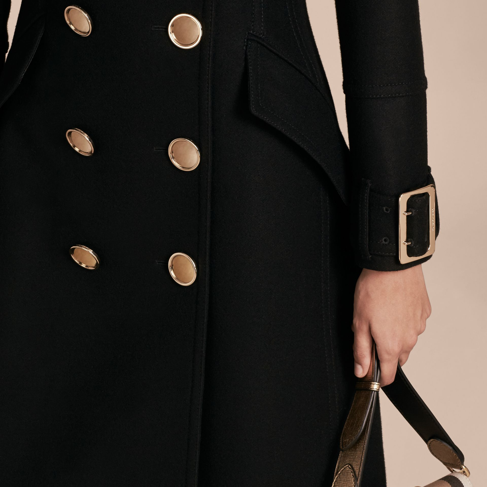 Black Wool Cashmere Blend Military Coat - gallery image 6