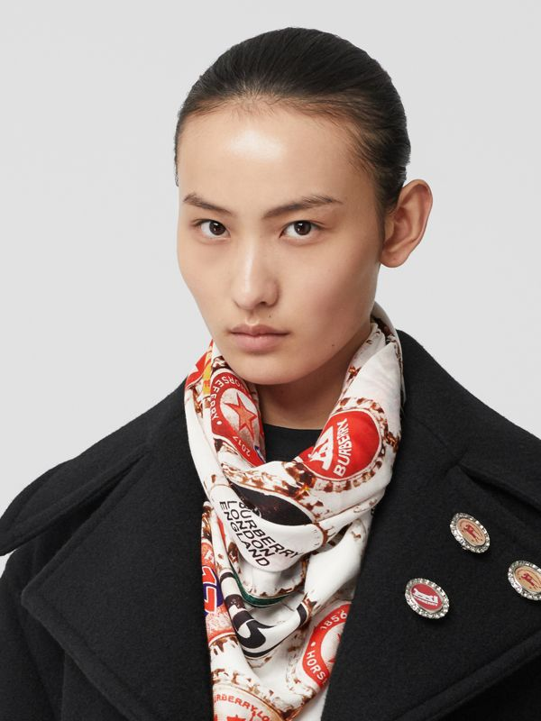 Bottle Cap Print Cotton Silk Large Square Scarf in Multicolour | Burberry - cell image 2