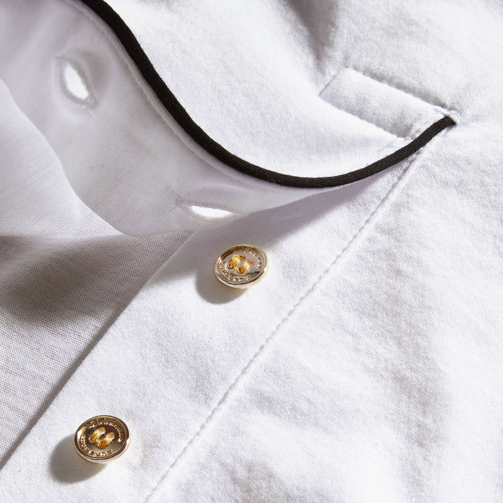 White Regimental Cotton Polo Shirt White - gallery image 2