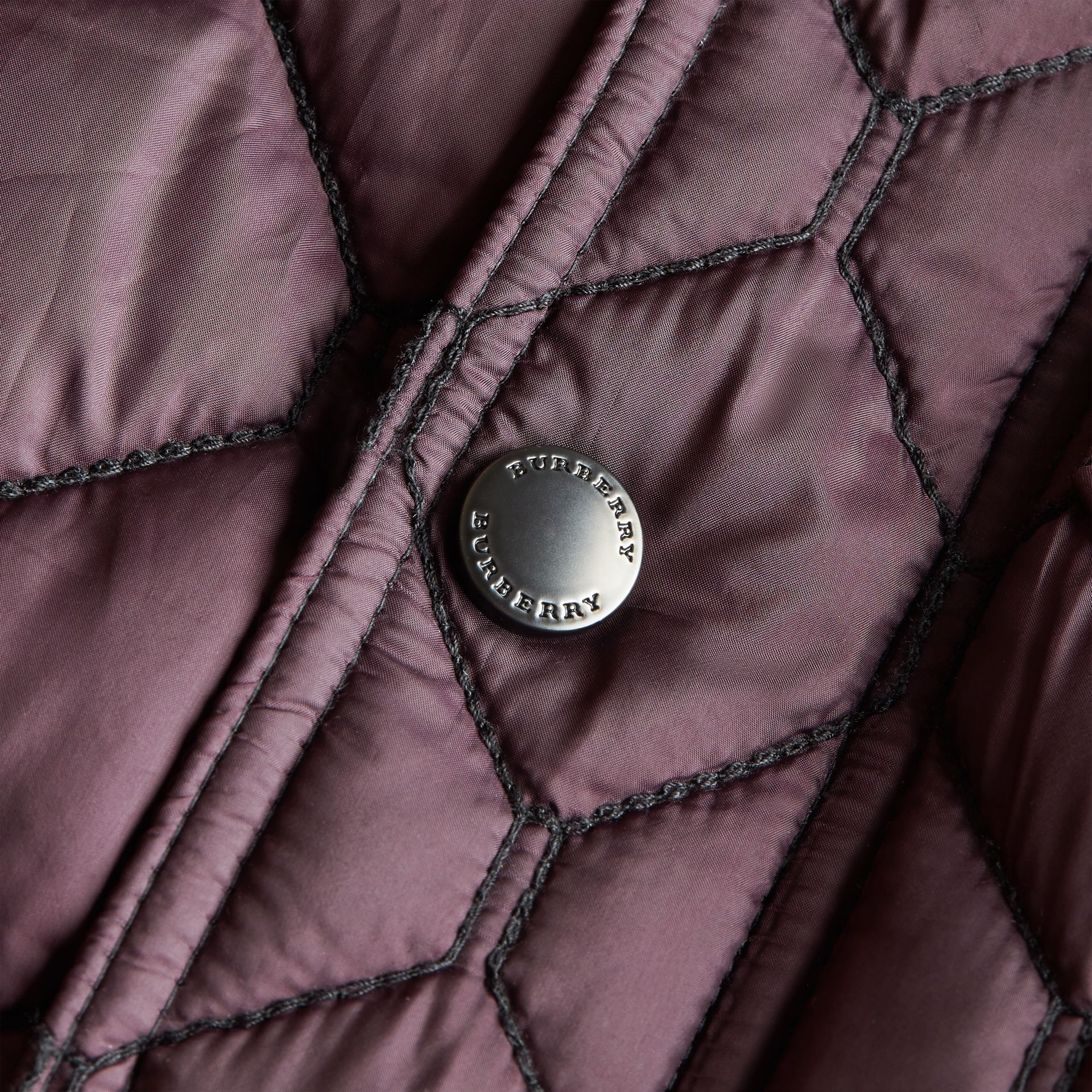 Contrast Topstitch Detail Quilted Jacket in Elderberry - Boy | Burberry - gallery image 2