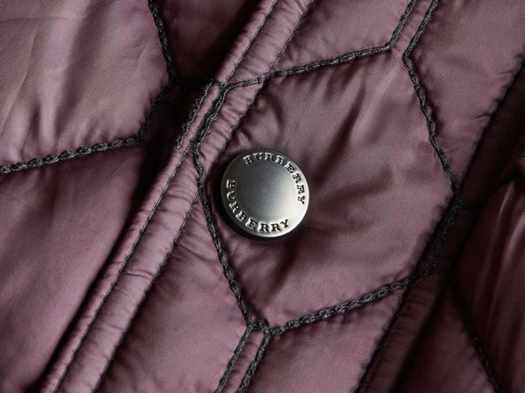 Contrast Topstitch Detail Quilted Jacket in Elderberry - Boy | Burberry - cell image 1