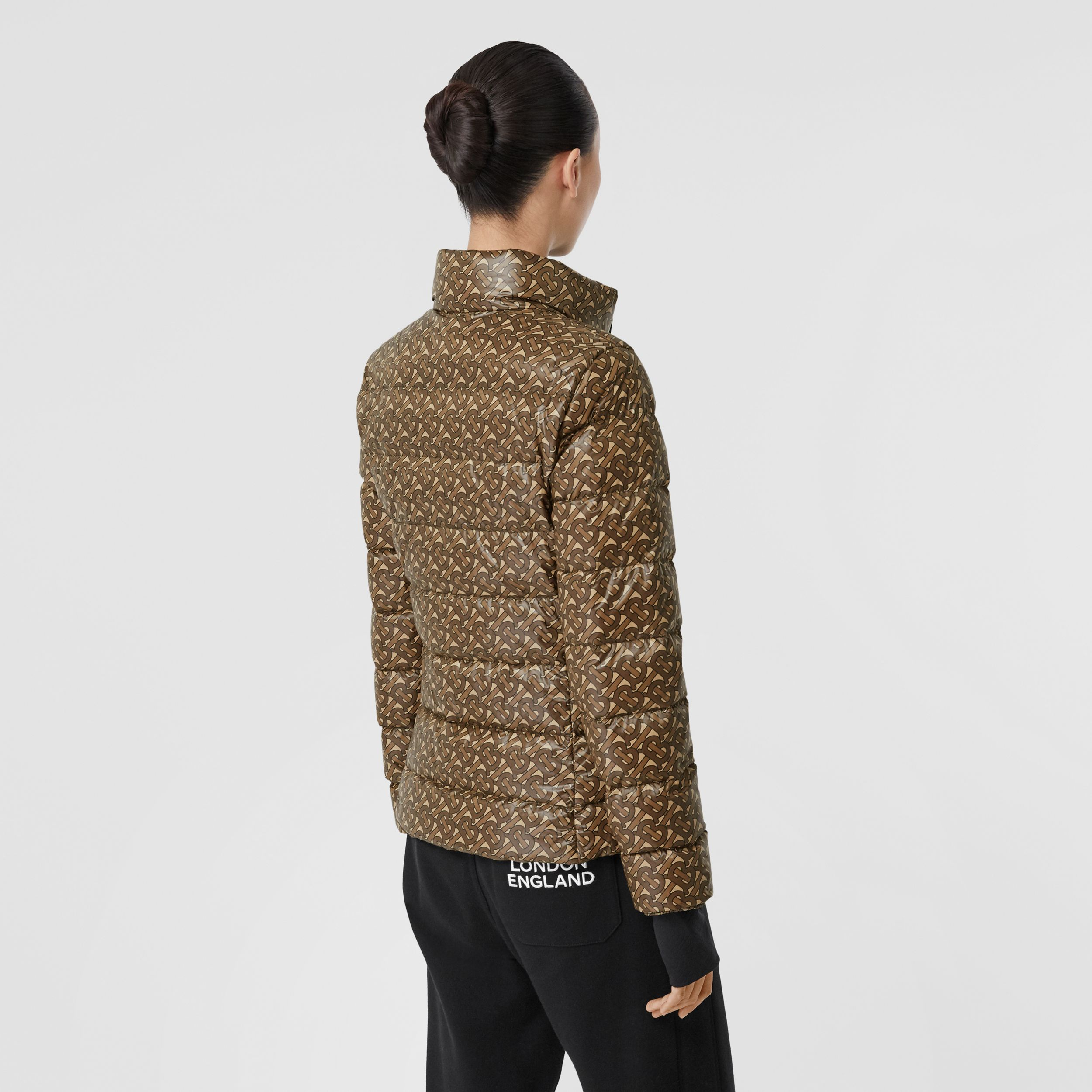Monogram Print Nylon Puffer Jacket in Bridle Brown - Women | Burberry - 3