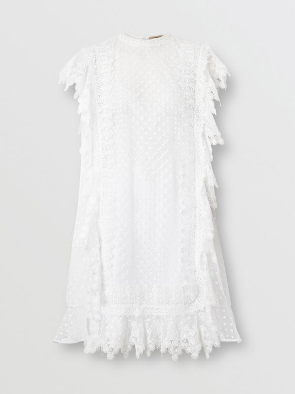 Scalloped Lace and Polka-dot Tulle Dress in White - Women | Burberry - cell image 3
