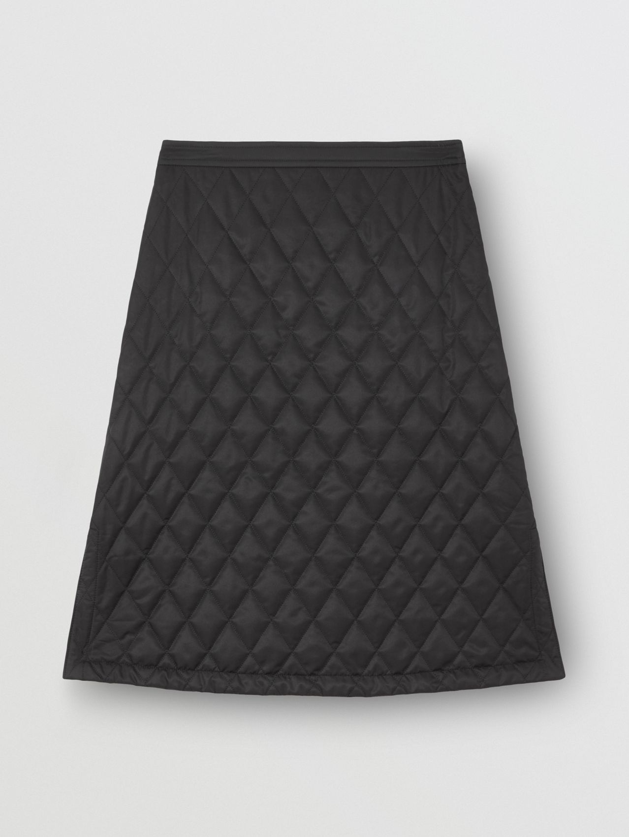 Diamond Quilted A-line Skirt in Black