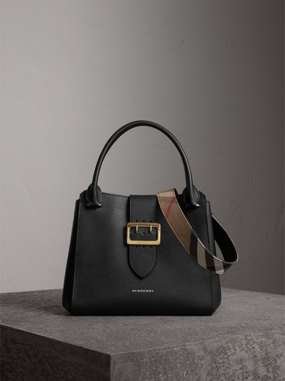 Borsa tote The Buckle media in pelle a grana (Nero)