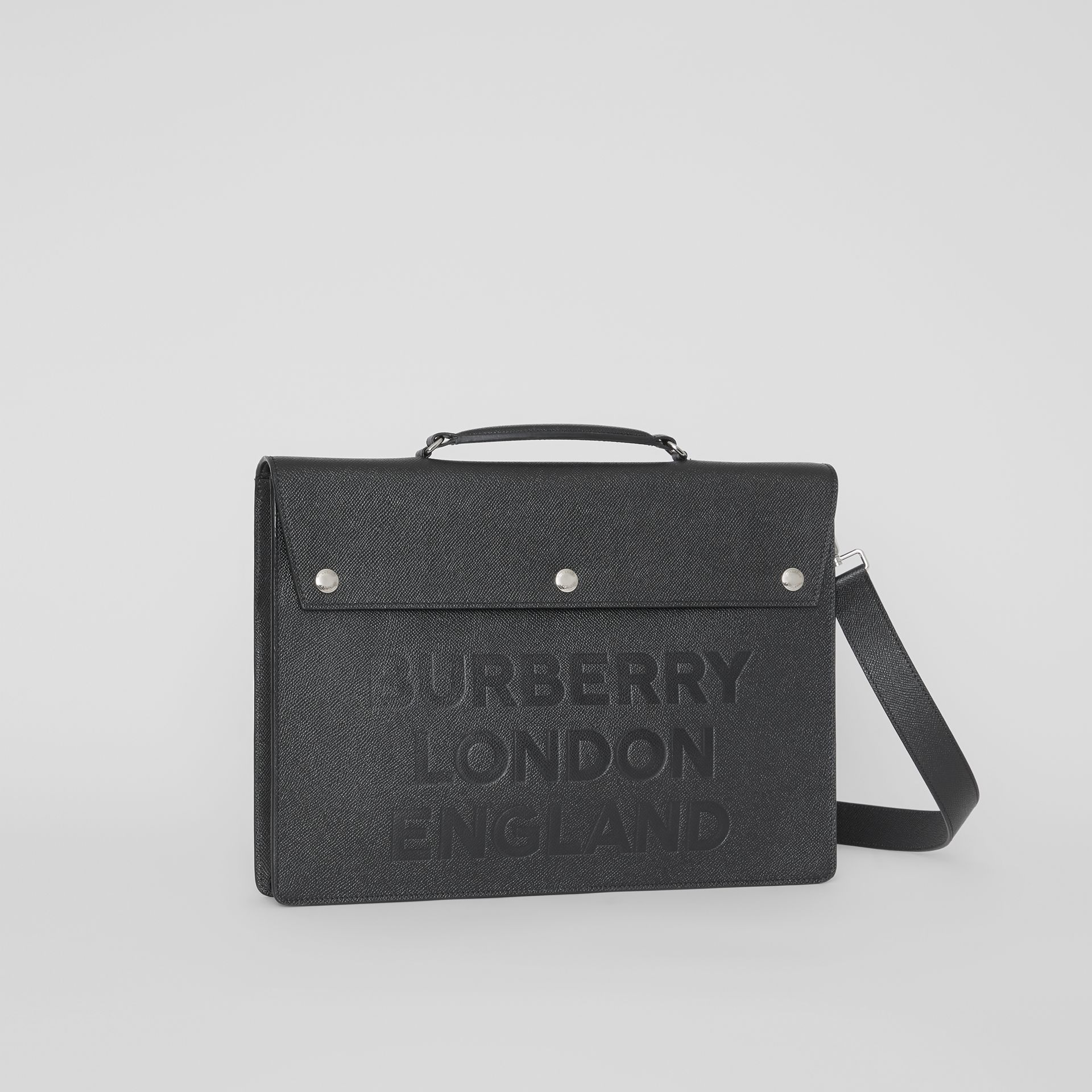 Porte-documents en cuir à triple pression avec logo (Noir) | Burberry - photo de la galerie 6