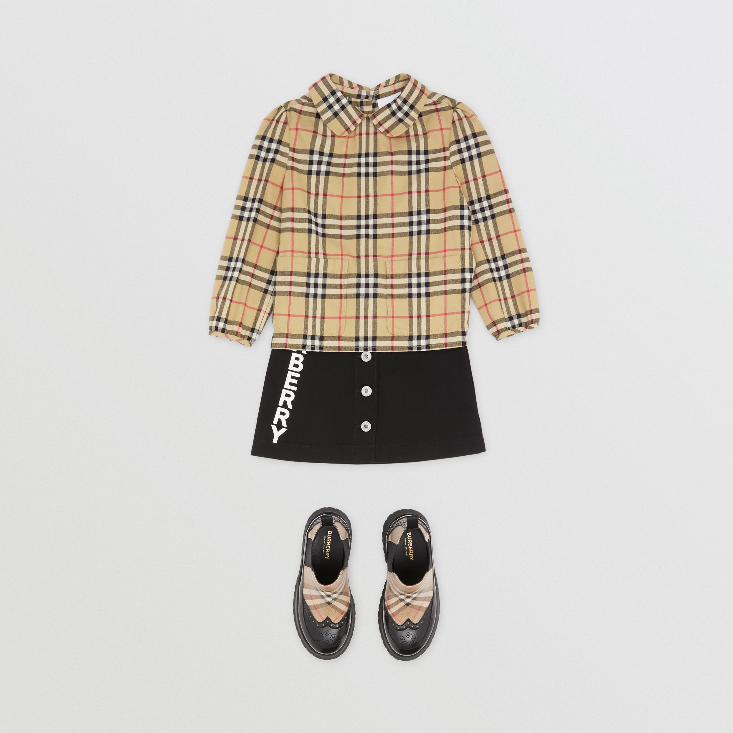 Peter Pan Collar Vintage Check Cotton Blouse | Burberry - 3