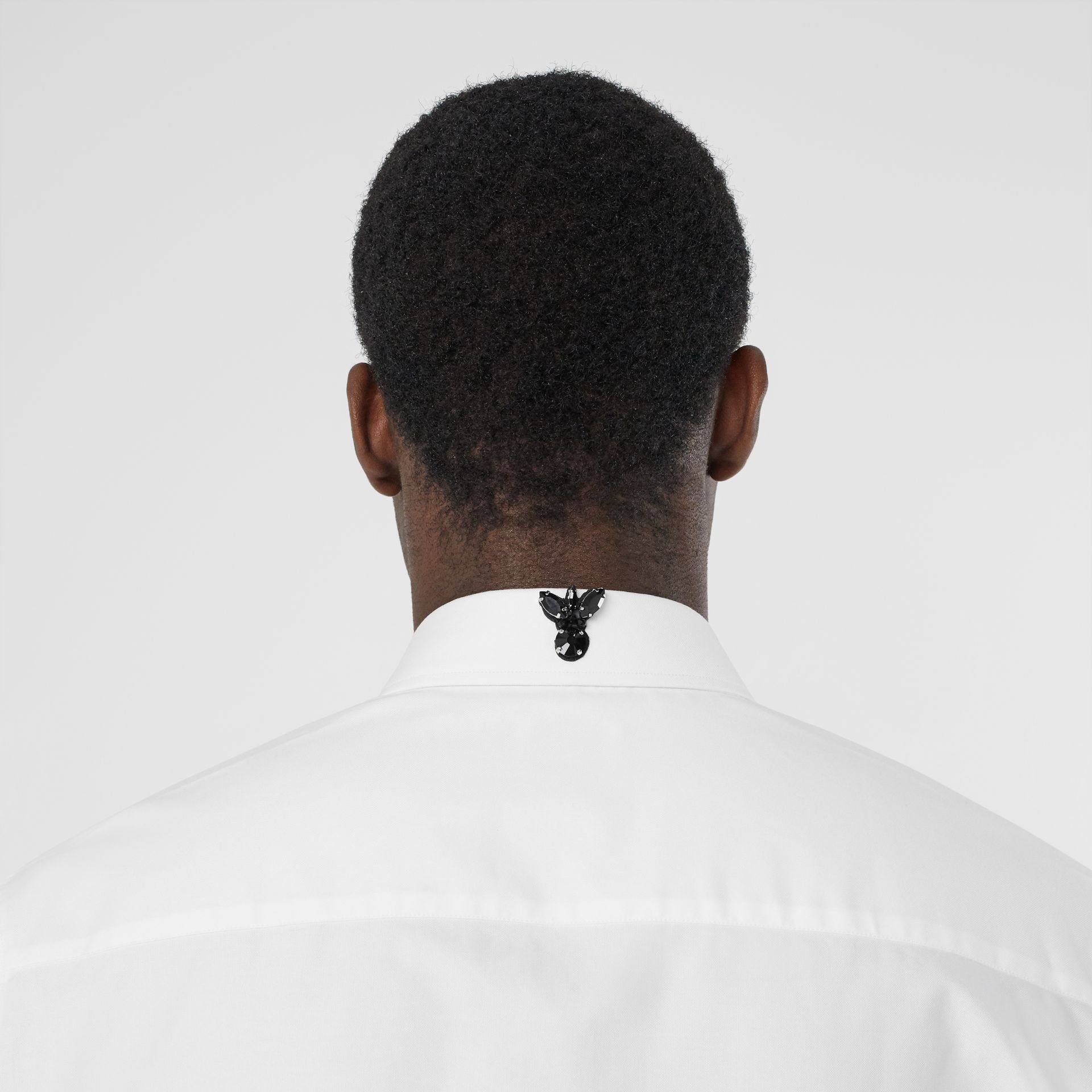 Classic Fit Crystal Detail Cotton Oxford Dress Shirt in White - Men | Burberry - gallery image 4