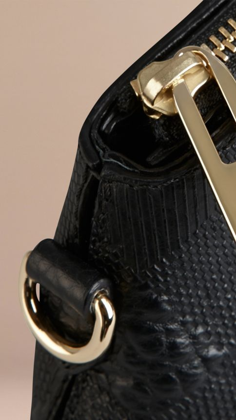 Black Small Embossed Check Leather Clutch Bag Black - Image 6