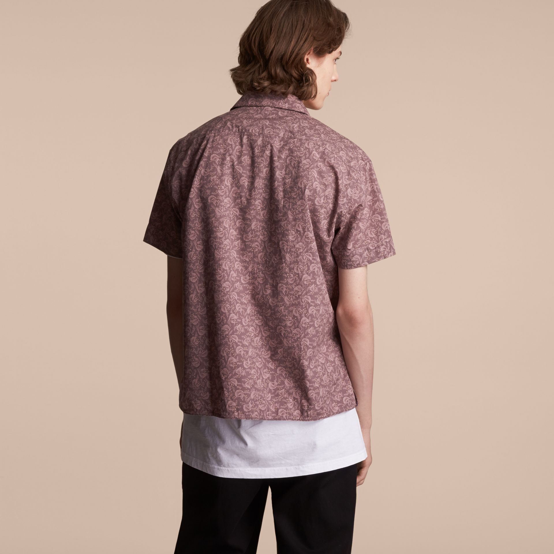 Short-sleeve Leaf Print Cotton Shirt - Men | Burberry - gallery image 3