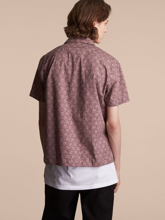 Short-sleeve Leaf Print Cotton Shirt in Mauve - Men | Burberry - cell image 2