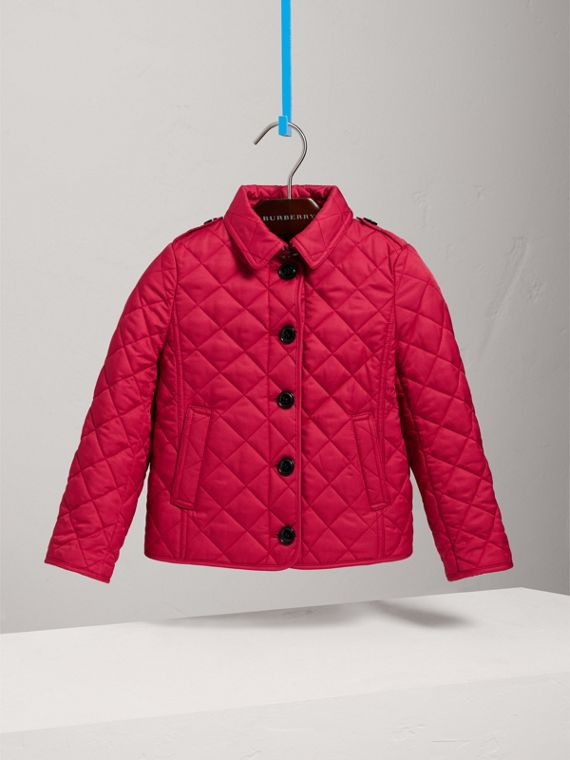 Check Lined Diamond Quilted Jacket in Crimson Pink - Girl | Burberry - cell image 2