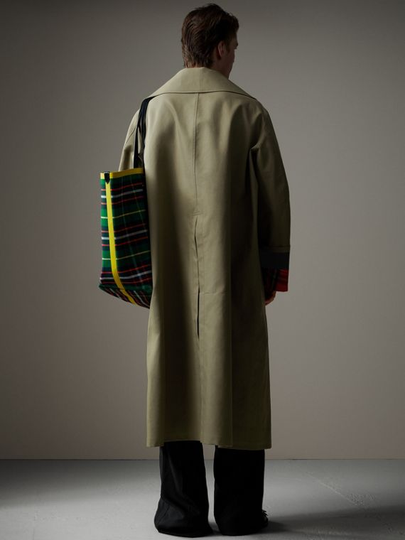 Bonded Cotton Oversized Seam-sealed Car Coat in Pale Olive/bright Red - Men | Burberry - cell image 2