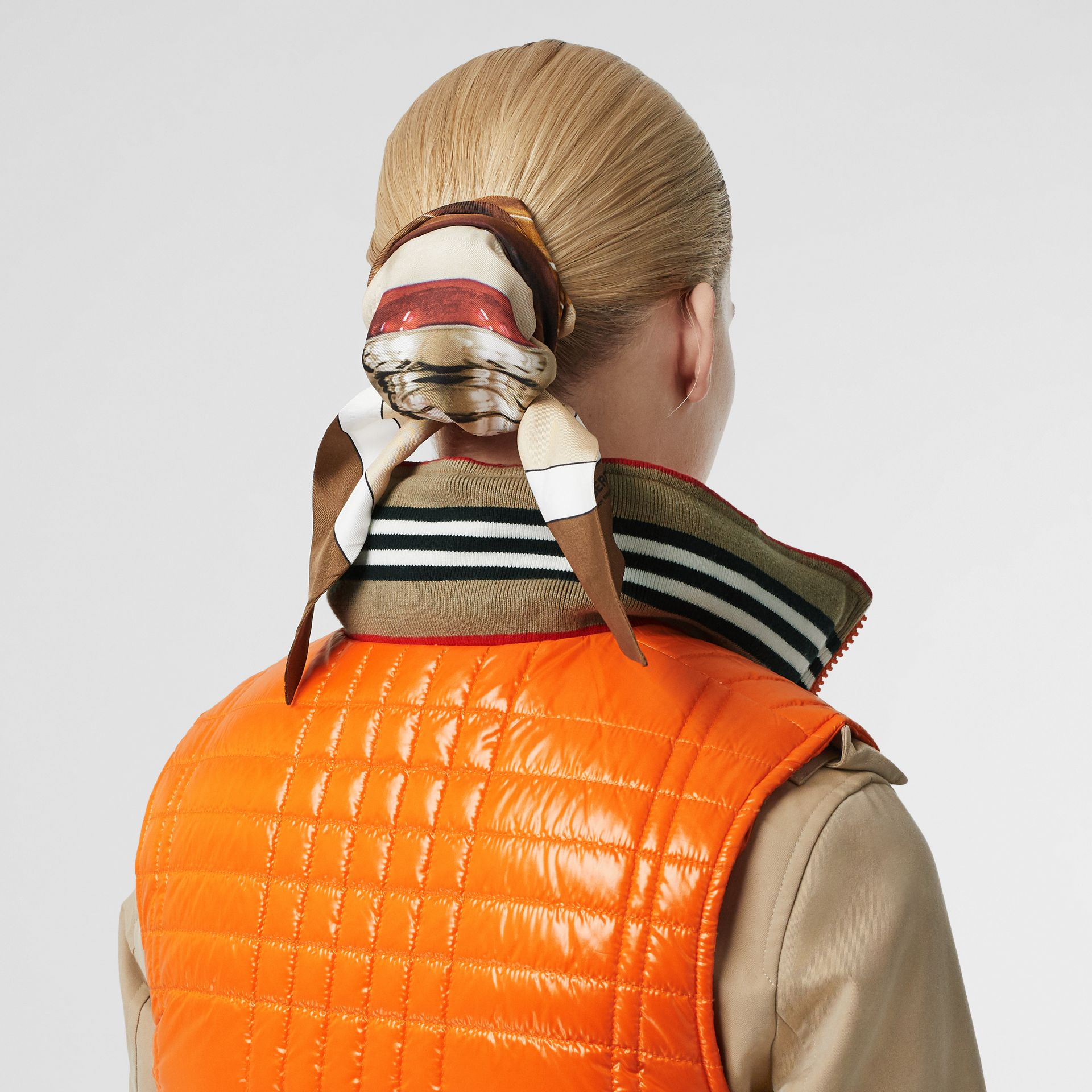 Icon Stripe Detail Down-filled Puffer Gilet in Orange - Women | Burberry - gallery image 5