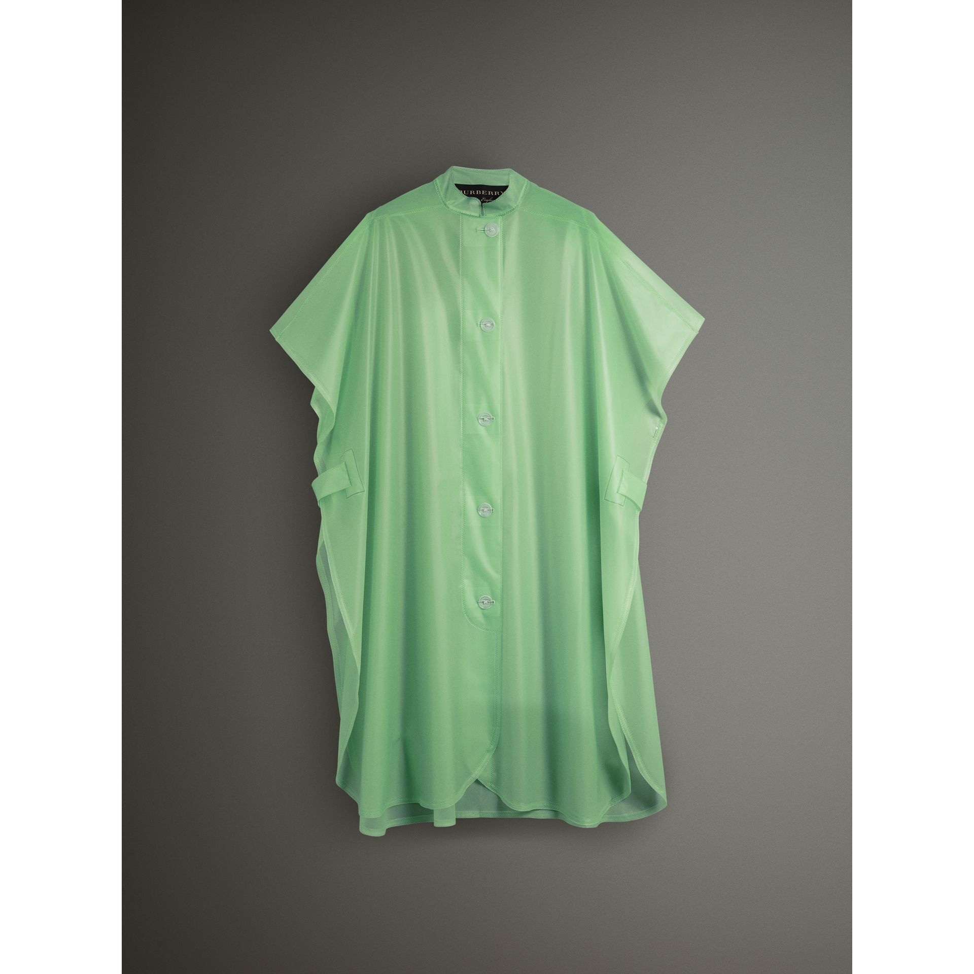 Soft-touch Plastic Poncho in Mint Green - Women | Burberry - gallery image 3