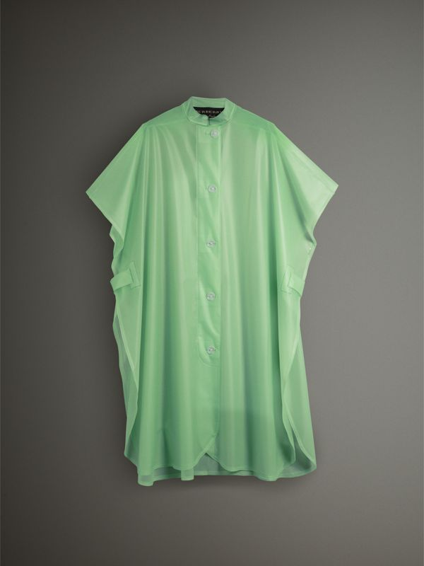 Soft-touch Plastic Poncho in Mint Green - Women | Burberry - cell image 3