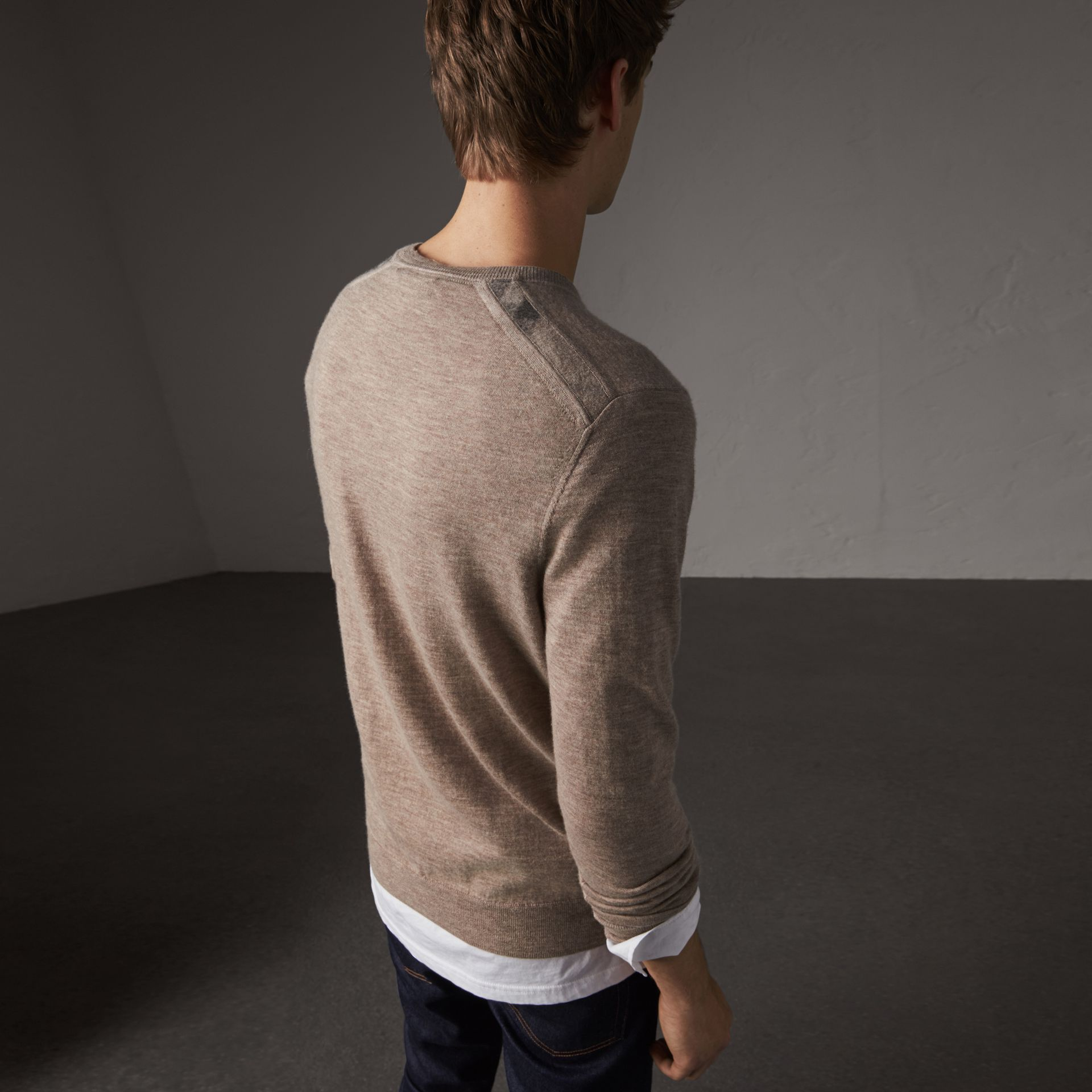 Check Jacquard Detail Cashmere Sweater in Camel Melange - Men | Burberry - gallery image 0